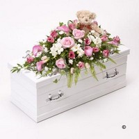 Childrens Casket Spray with Teddy Bear   Pink