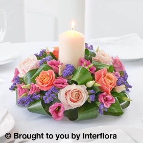 Pretty Pink Rose & Lisianthus Candle Centrepiece