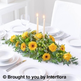 Sunshine Yellow Floral Candle Centrepiece