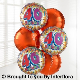 40th Birthday Helium Balloon Bouquet